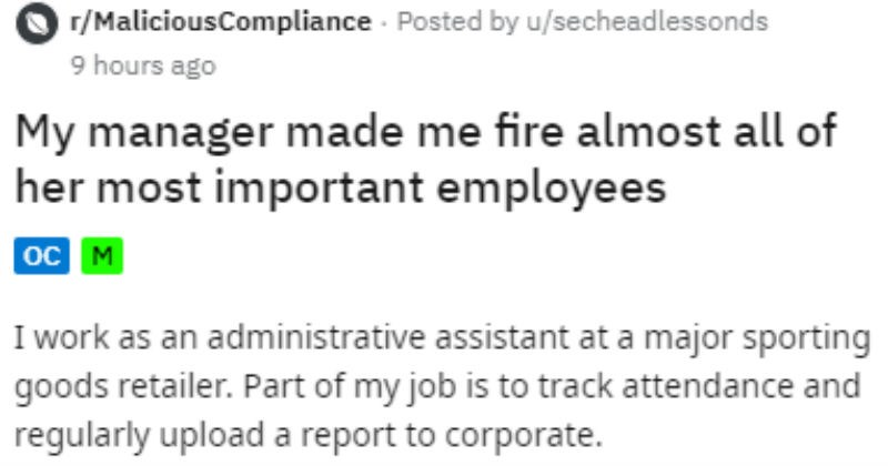 Dumb manager gets a bunch of employees fired.