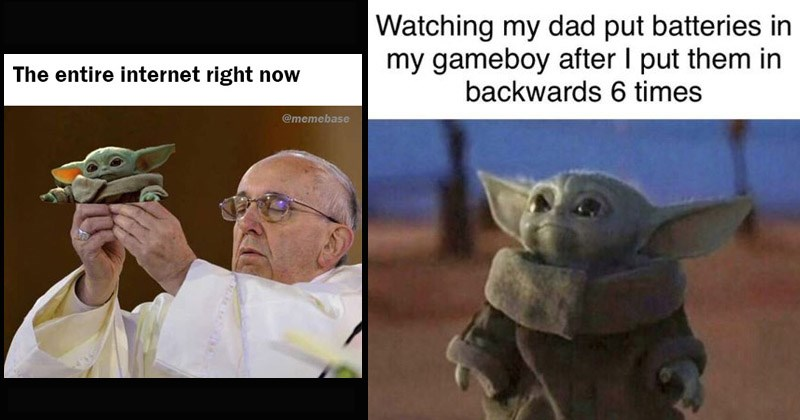 Funny and cute memes about Baby Yoda from 'The Mandalorian' | Glasses - entire internet right now @memebase |Animal - Watching my dad put batteries my gameboy after put them backwards 6 times