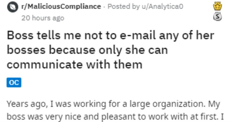 Reddit story of a guys sexist boss who forbid him from talking to management.