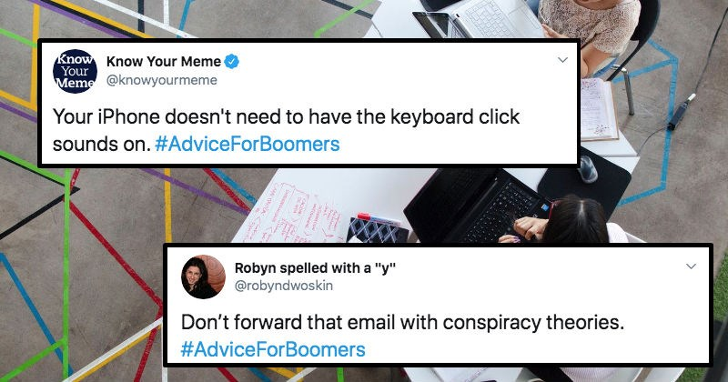 "A collection of Twitter users troll baby boomers with various pieces of ""advice."""