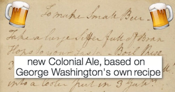 beer,list,recipe,george washington,tweet,Video