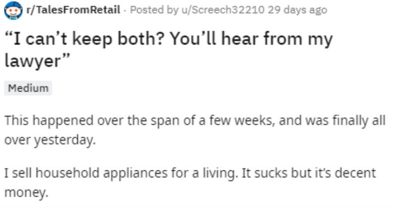Reddit story of a customer who tries to lie to a business and keep two washing machines.