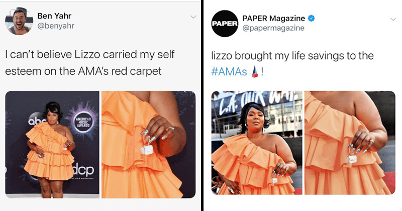Lizzo memes, lizzo purse memes, lizzo twitter reactions, tiny purse, valentino, american music awards