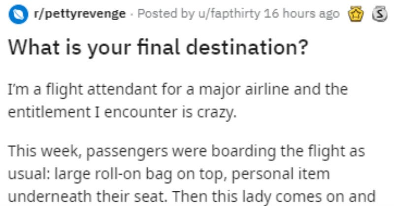 Story of flight attendant getting revenge on horrible customer.