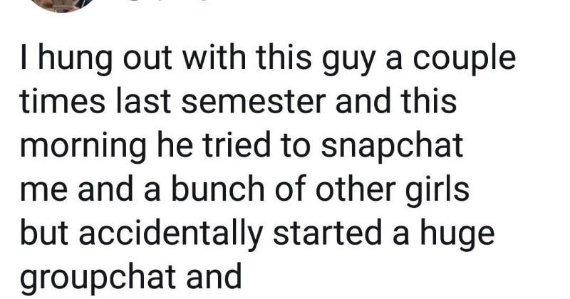 Guy tries to snapchat multiple girls at once, and ends up accidentally starting a group chat.