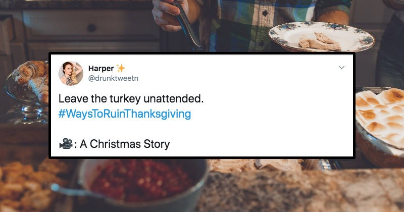 A collection of Twitter users sharing various ways to ruin Thanksgiving.