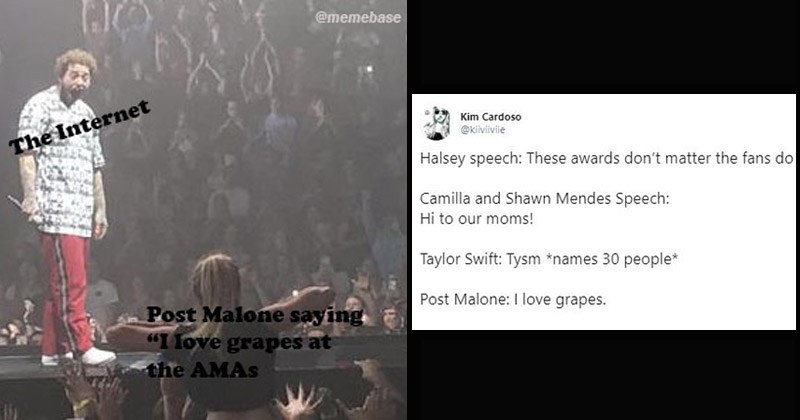 "Funny memes and tweets about Post Malone's ""I love grapes"" comment at the American Music Awards"