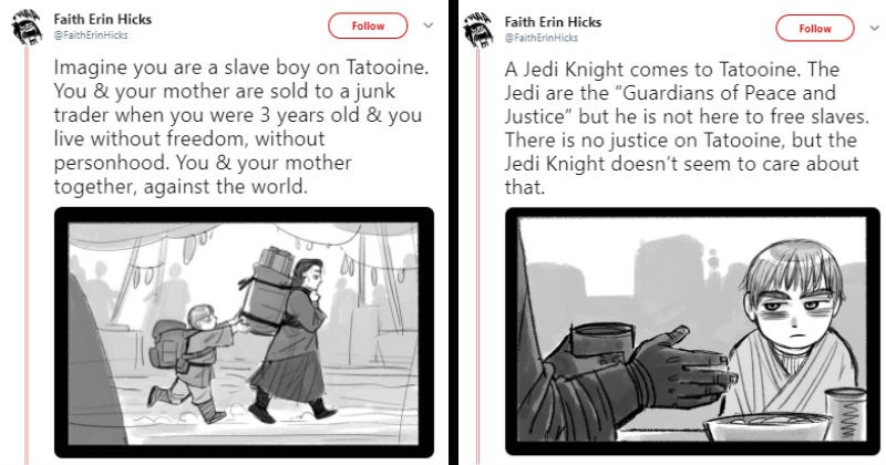 Cartoonist rewrites Anakin's story for Star Wars Prequels with emotional depth.