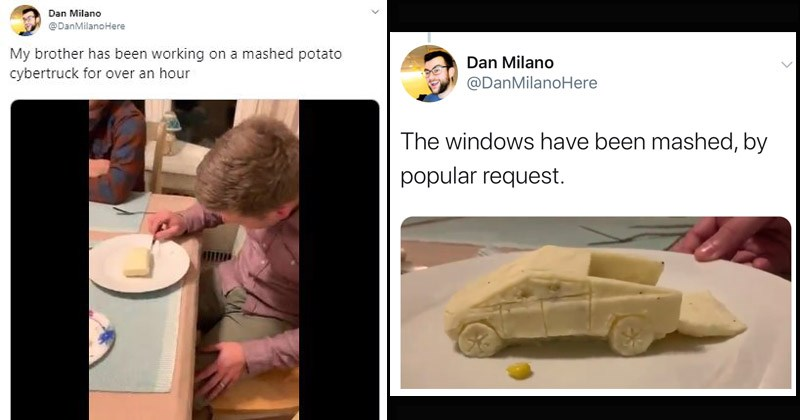 Funny Twitter story about a guy who builds a Cybertruck out of mashed potatoes