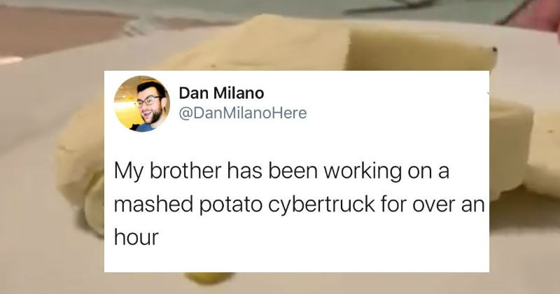 Guy designs a mashed potato CyberTruck to honor Elon Musk's CyberTruck.