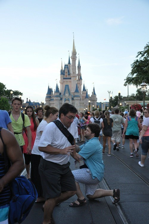 marriage photobombing marriage proposal proposing weddings disneyland - 98565