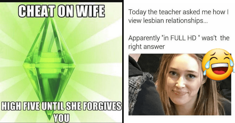 Cringey social media posts, cringey pictures, cringe pics, cringe, oof, yikes | the sims: CHEAT ON WIFE HIGH FIVE UNTIL SHE FORGIVES. Today teacher asked view lesbian relationships Apparently FULL HD right answer