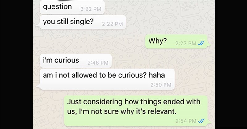 Cringey text message conversation between a woman and a guy she went on a date with over a year ago