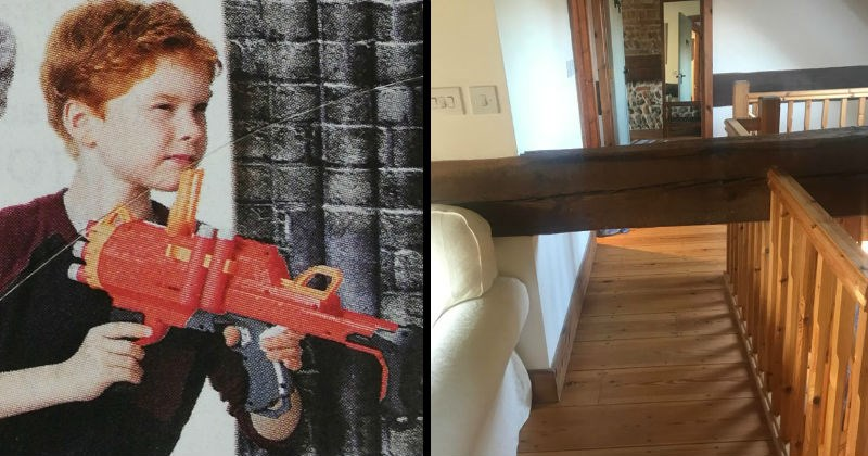Stupid design fails made by people who had one job | red haired child holding a water gun backwards. wooden pillar blocking the way in a hall.