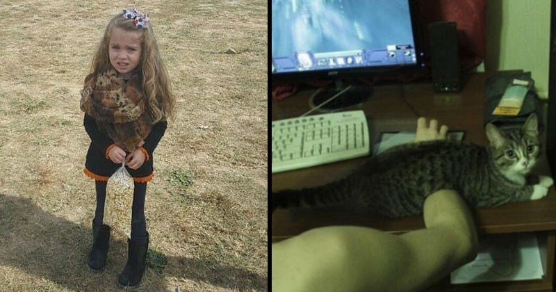 Real life optical illusions made by strange perspective | young girl holding a bag of popcorn that looks exactly like the dry grass she's standing on making her look like she has abnormally thin legs. cat sitting across a person's arm while they're using the computer making it appear as if the person's hand is going through the cat's body