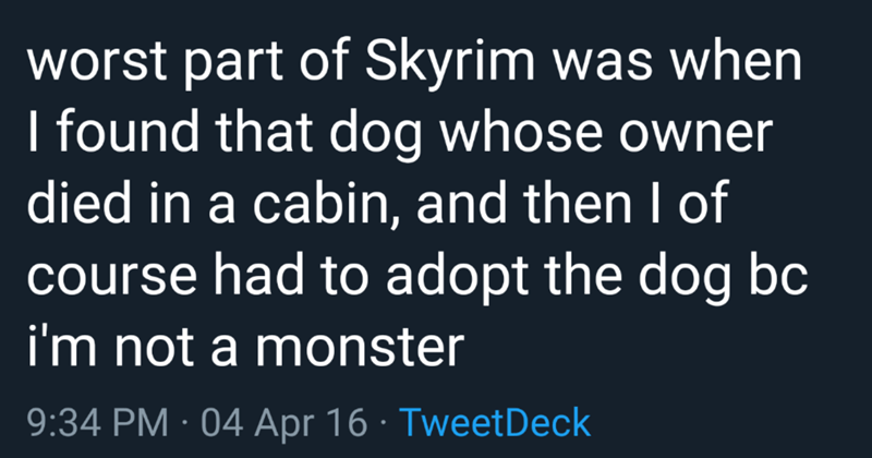 funny twitter thread about adopting a dog in Skyrim