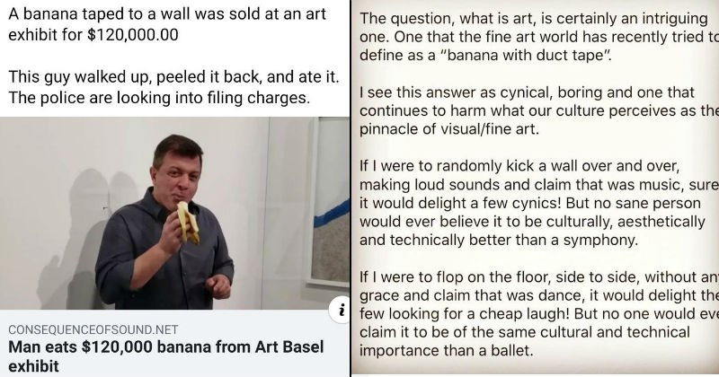 Artist's take on modern art industry stemming from artist who ate expensive banana art.