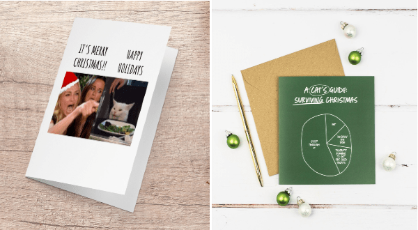 funny cat cards Christmas | Woman yelling at cat on a greeting card about it being merry christmas vs happy holidays | a cat's guide to surviving christmas