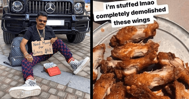 Disturbing and cursed images from the r/mildlyinfuriating subreddit, mildly infuriating | Need Money luxury shit man begging in front of an expensive car | stuffed Imao completely demolished these wings half eaten chicken