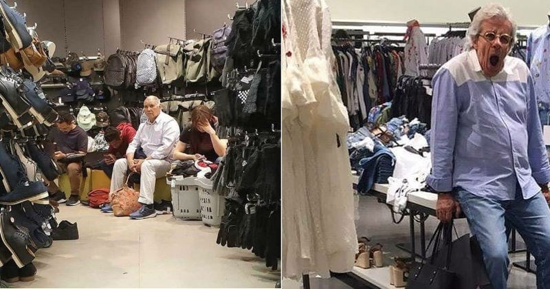 A collection of images showing various husbands sleeping, while their wives shop during the holidays | row of men sitting among displays of shoes and bags. man yawning while leaning against a display table at a clothing store