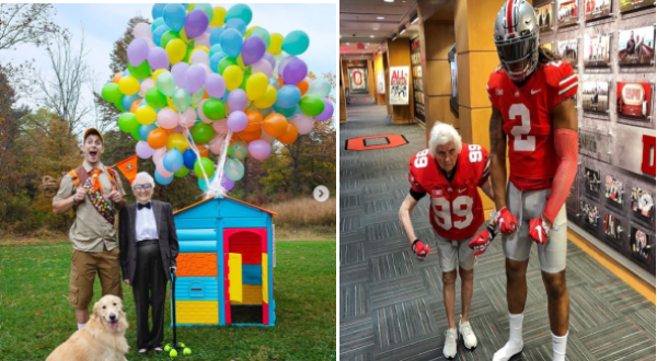 grandma and grandson dressing up, wearing matching costumes and cosplaying together | Ross and his grandma dressed as the characters from the movie up including a house tied to a bunch of balloons and another pic of grandma dressed as a football player posing with an actual professional athlete