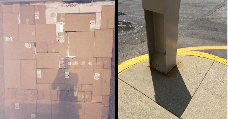 Satidfying images of things fitting into other things | wall of packages in cardboard boxes perfectly stacked together. shadow of a square pole hitting perfectly inside the corner of a tile