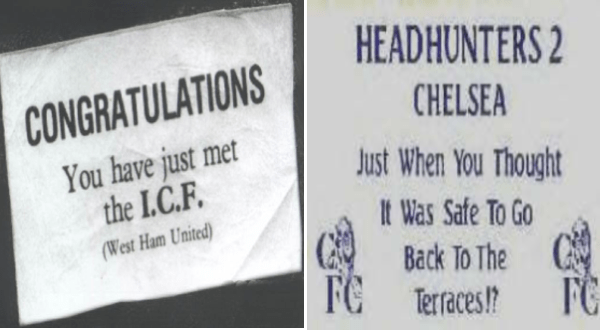 gang business cards | CONGRATULATIONS have just met C.F West Ham United. HEADHUNTERS 2 CHELSEA Just Thought Safe Go Back FC FG Terraces!?