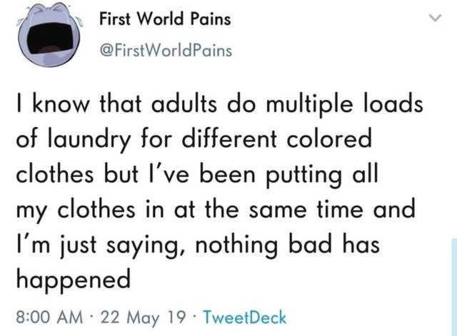 funny random memes, dank memes, twitter, funny tweets, relatable | First World Pains @FirstWorldPains I know that adults do multiple loads of laundry for different colored clothes but I've been putting all my clothes in at the same time and I'm just saying, nothing bad has happened 8:00 AM 22 May 19 TweetDeck