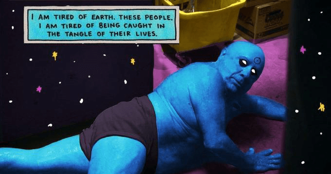 funny memes about doctor manhattan watchmen | quote overlay on a naked Danny Devito / Frank Reynolds in blue with the decorations implying he is Dr Manhattan I AM TIRED OF EARTH. THESE PEOPLE. AM TIRED OF BEING CAUGHT IN THE TANGLE OF THEIR LIVES.