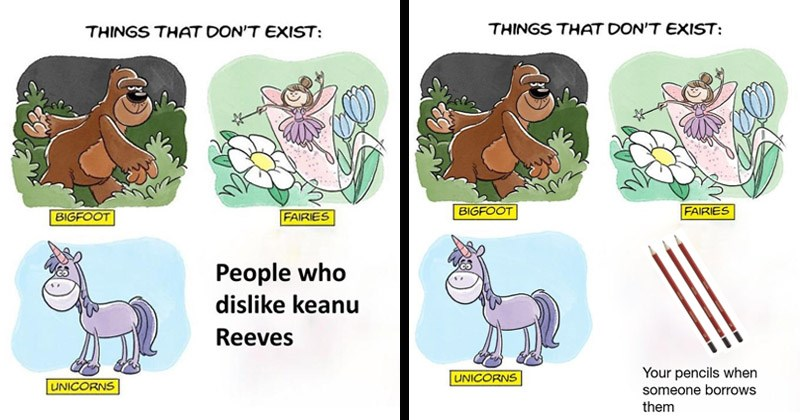 "Funny dank memes entitled, ""Things That Don't Exist"" 