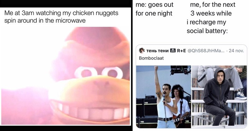 chuckle worthy memes for those that need a little meme break | cover image of a wide-eyed monkey monkey staring at chicken nuggets going around in the microwave at 3 am and Rami Malek meme of being Freddie Mercury vs hoodie in the crowd as how it feel after going out for 1 night.
