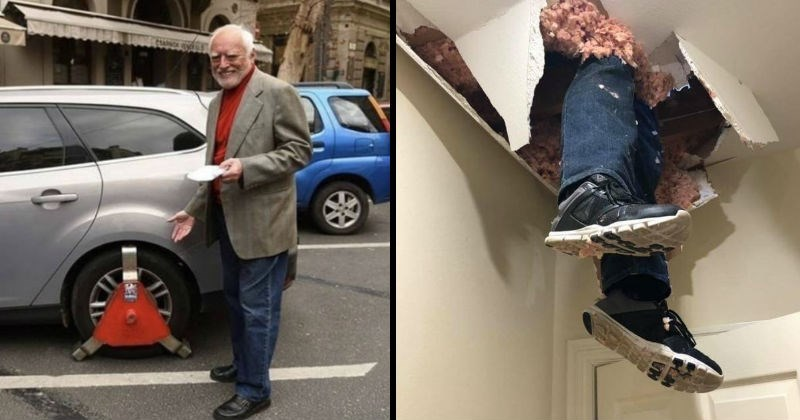 Unlucky moments of chaos, fails and messes | hide the pain harold standing next to a car with a clamp on its wheels. person's legs hanging from a crumbling hole in the ceiling.