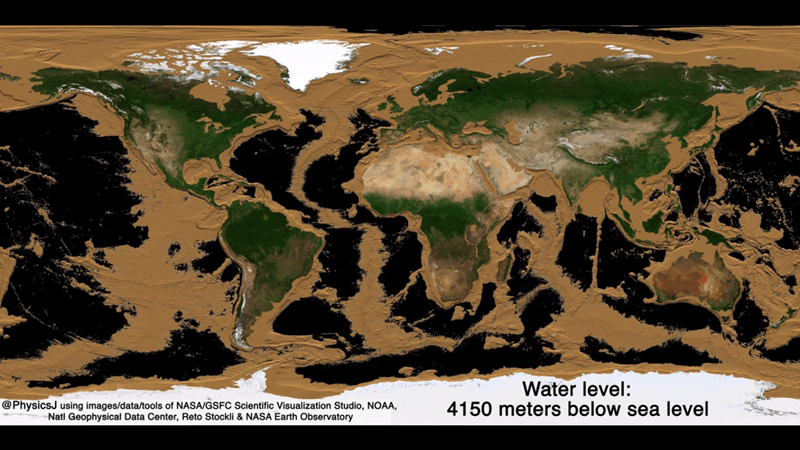 GIFs showing what the Earth would look like if all the water on it disappeared