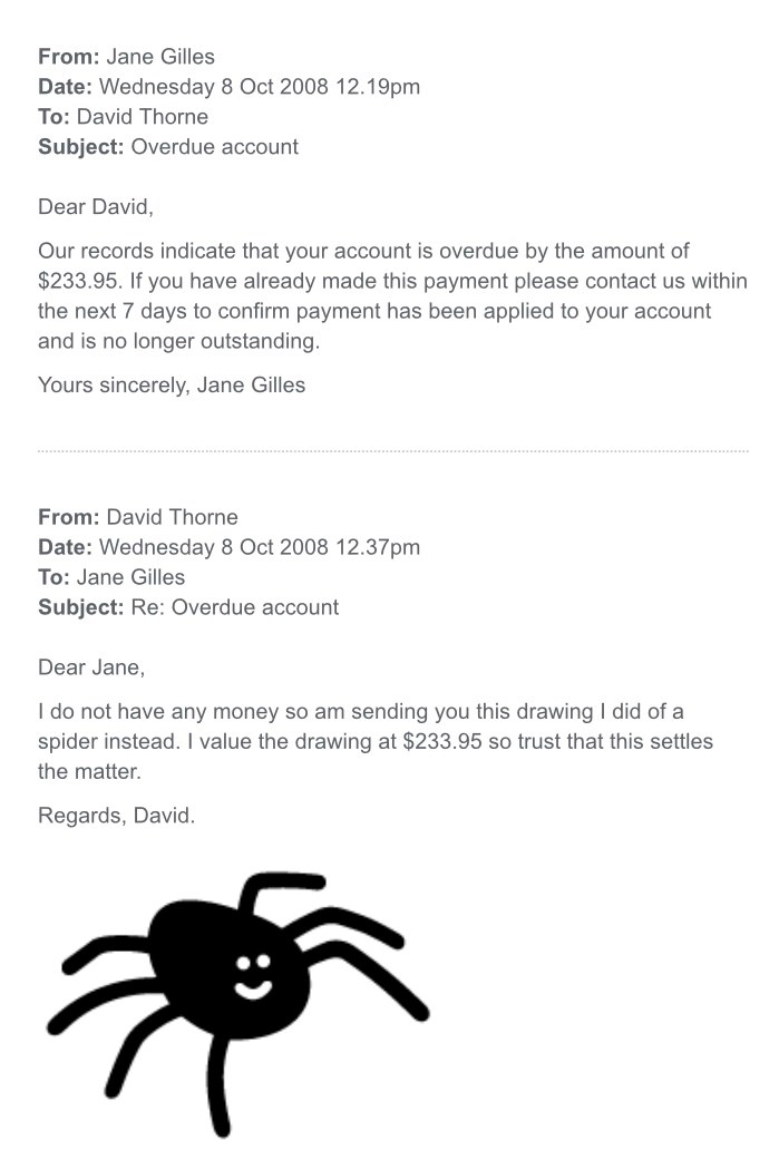 email david funny troll | David Thorne Jane Gilles Subject: Re: Overdue account Dear Jane do not have any money so am sending this drawing did spider instead