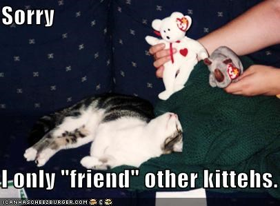 "Sorry  I only ""friend"" other kittehs."