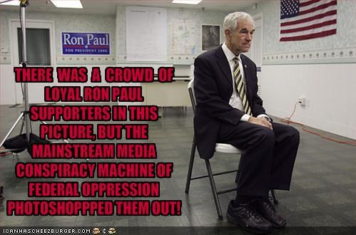 THERE  WAS  A  CROWD  OF LOYAL RON PAUL SUPPORTERS IN THIS PICTURE, BUT THE MAINSTREAM MEDIA CONSPIRACY MACHINE OF FEDERAL OPPRESSION PHOTOSHOPPPED THEM OUT!