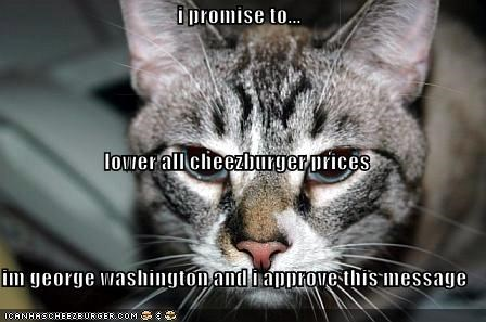 i promise to... lower all cheezburger prices im george washington and i approve this message