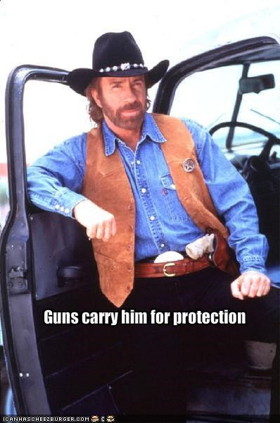 Guns carry him for protection