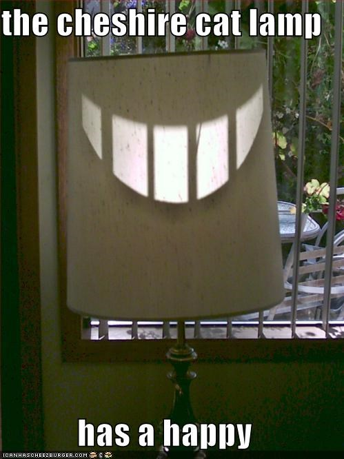 the cheshire cat lamp  has a happy