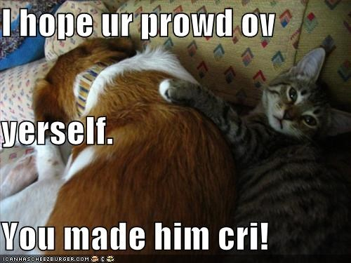 I hope ur prowd ov  yerself. You made him cri!