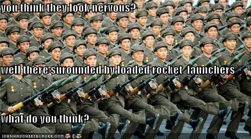 you think they look nervous? well there surounded by loaded rocket  launchers  what do you think?