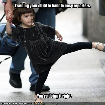 Training your child to handle nosy reporters.