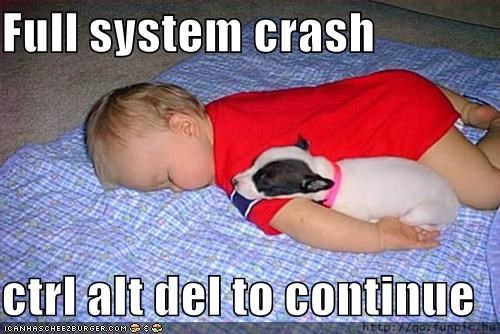 Full system crash  ctrl alt del to continue