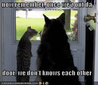 now remember, once we'z out da  door, we don't knows each other