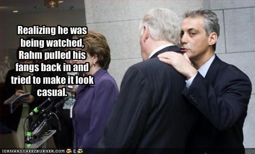 Realizing he was being watched, Rahm pulled his fangs back in and tried to make it look casual.