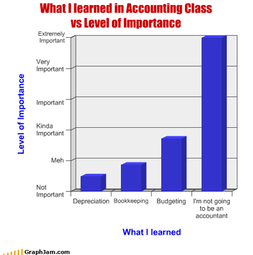 What I learned in Accounting Class  vs Level of Importance