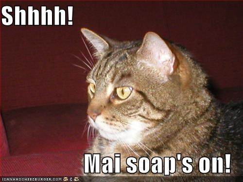 Shhhh!  Mai soap's on!