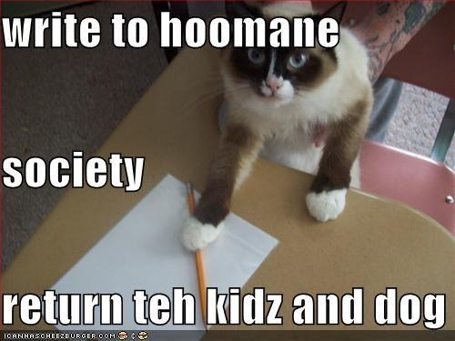 write to hoomane  society return teh kidz and dog