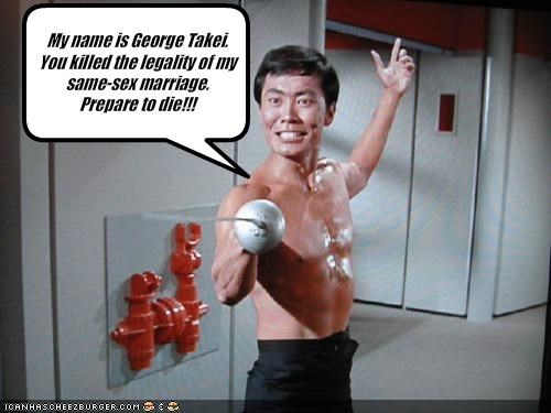 My name is George Takei.  You killed the legality of my same-sex marriage.  Prepare to die!!!