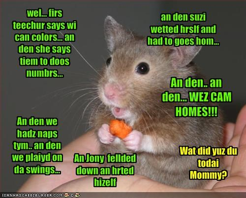 wel... firs teechur says wi can colors... an den she says tiem to doos numbrs...